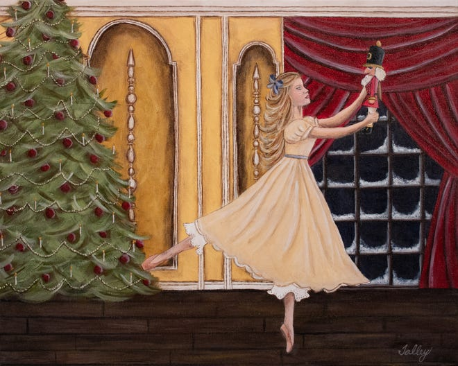 "An original painting by Jennifer Talley of Alabama River Region Ballet to commemorate this year's ""The Great Montgomery Nutcracker""."