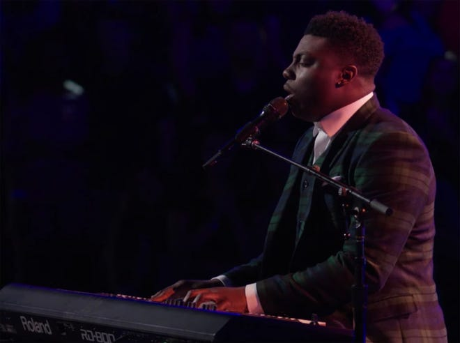 """Montgomery resident Kirk Jay performs """"In Case You Didn't Know"""" during the knockout rounds on Monday night's episode of """"The Voice."""""""