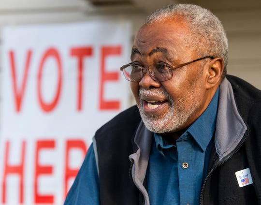 Milt Belcher, who is always the first person in line to vote at the Snowdoun Women's Club voting place in Snowdoun, Ala., talks about voting on Tuesday November 6, 2018.