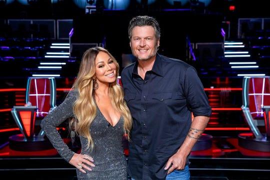 """Mariah Carey and Blake Shelton on NBC's """"The Voice."""""""