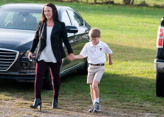 Republican congresswoman Martha Roby arrives to vote with her son George at the Snowdoun Women's Club voting place in Snowdoun, Ala., on Tuesday November 6, 2018.