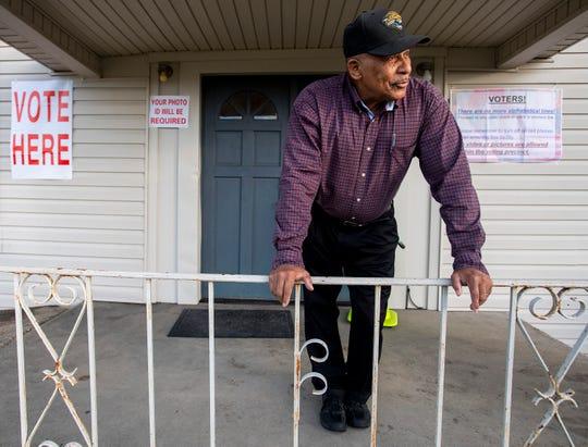 Snowdoun Women's Club voting place greeter James Jackson at the polls in Snowdoun, Ala., on Tuesday November 6, 2018.