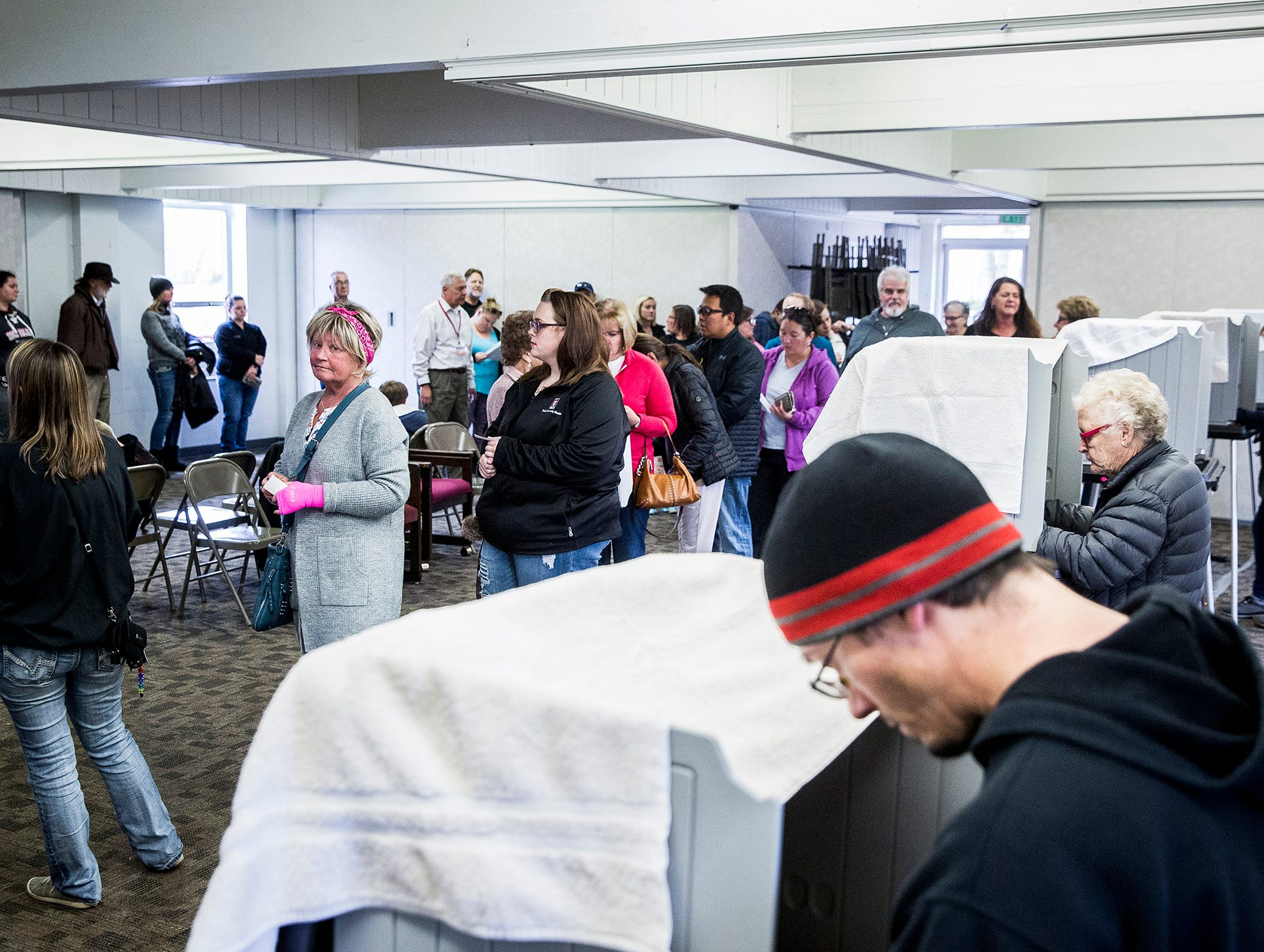Voters from Precinct 53 and 54 cast their ballots in at Yorktown Church of the Nazarene in Yorktown Tuesday afternoon.