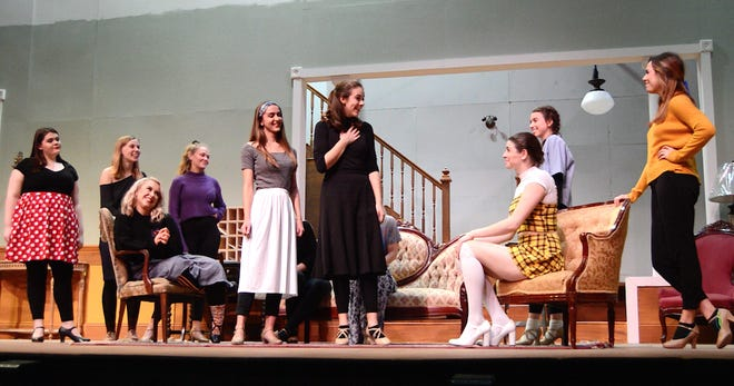 "Ball State University Department of Theatre and Dance acting and musical theater majors rehearse ""Stage Door"" prior to opening on Nov. 9. Pictured are Macey Arrington, Rachel Bachar, Maddie Land, Jenna Kirkeeng, Allie Charton, Megan Tiller, Christina Barnes, Grace Freese and Carly Masterson."