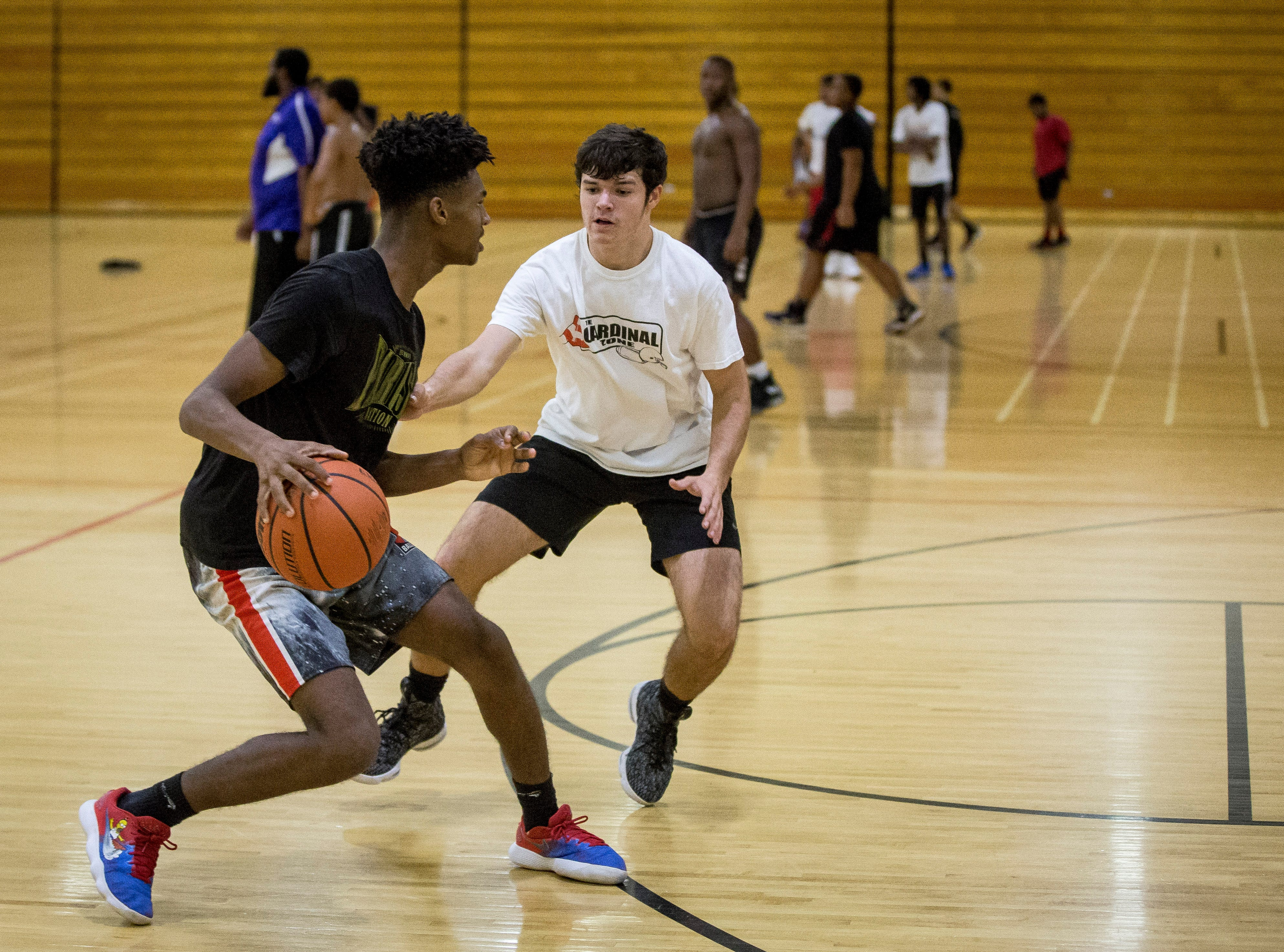 Central students hit the basketball courts Monday evening at Central High School for the basketball tryouts.