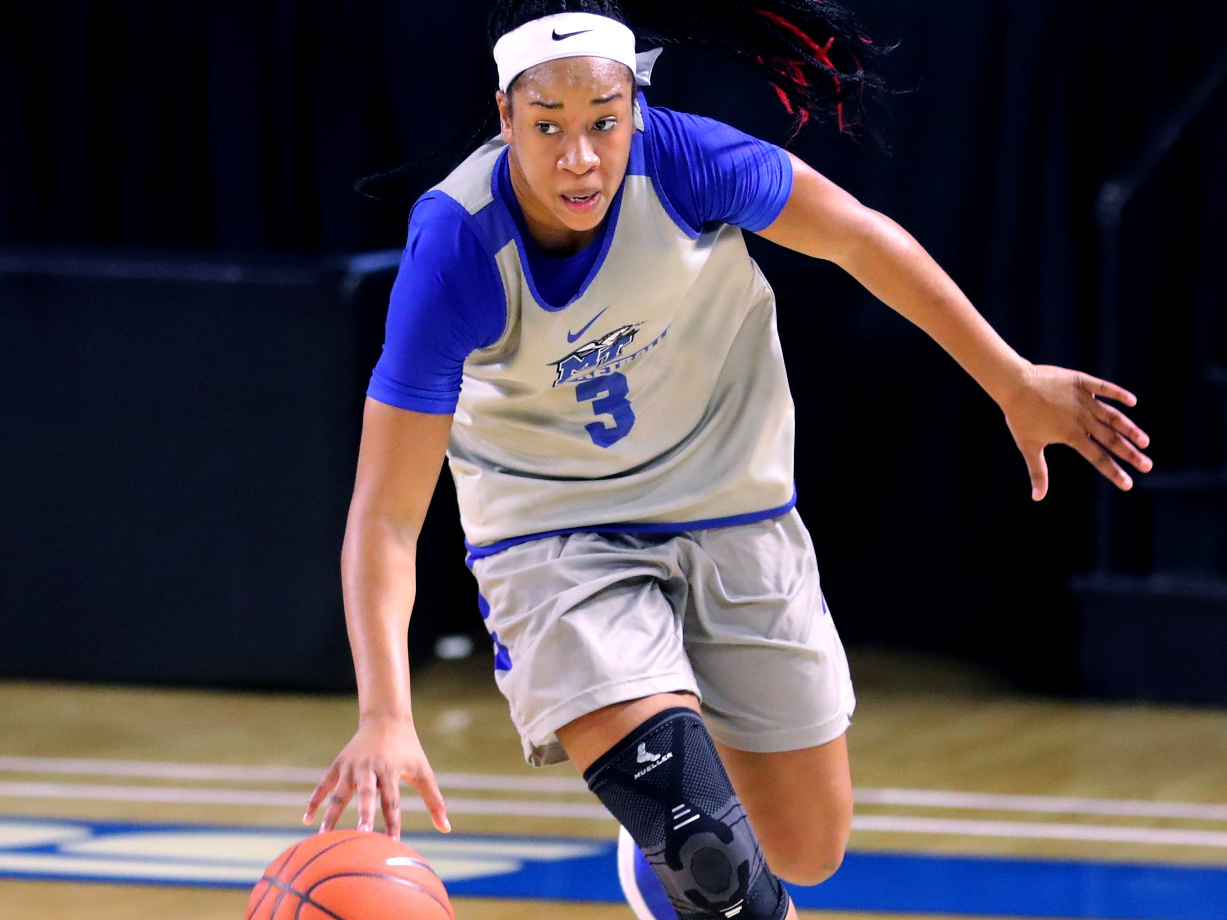 MTSUs Kyla Allison (3) brings the ball down the court women's basketball team practices at Murphy Center on Monday, Nov.. 5, 2018.