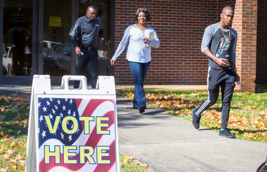 Voters leave Mitchell-Neilson Primary School in Murfreesboro after voting Tuesday morning in the 2018 midterm elections.