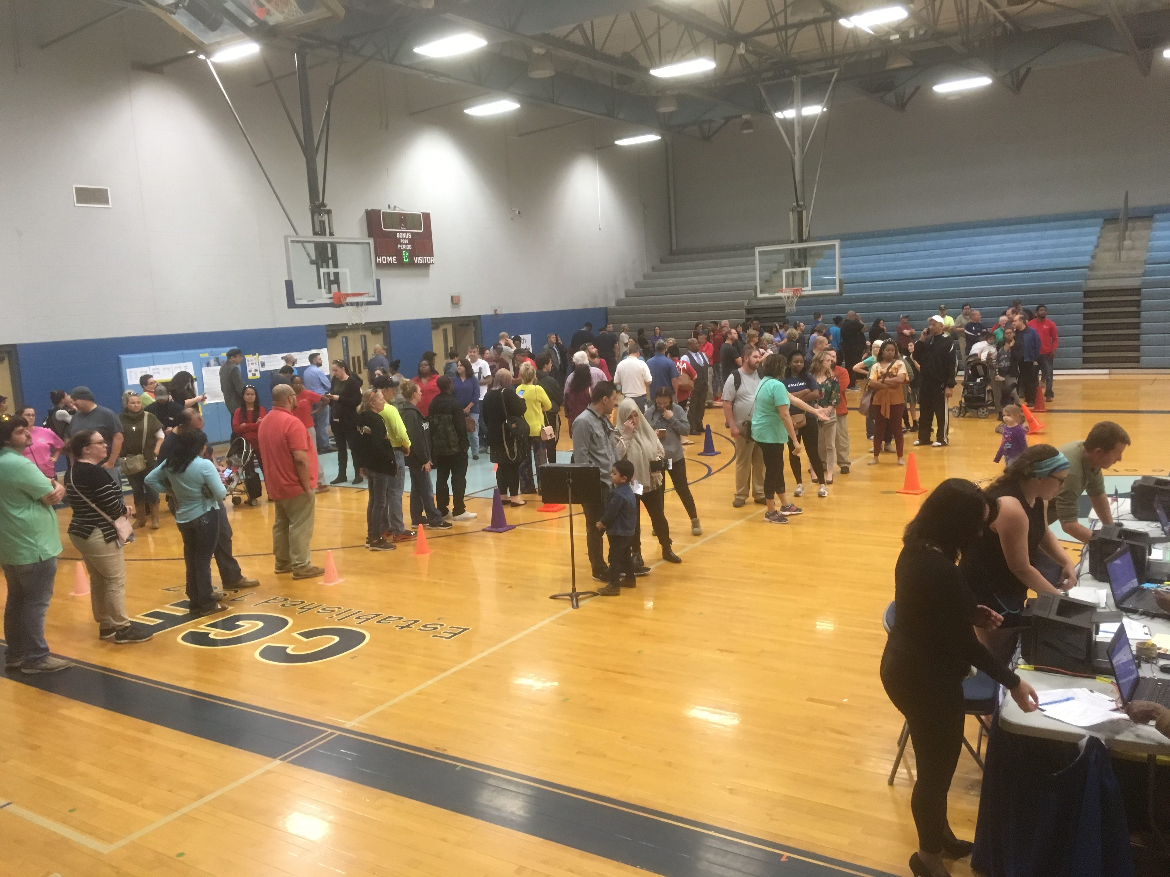 Voters packed the gym at Cedar Grove Elementary School in Smyrna around 4:45 p.m. on Tuesday, Nov. 6, 2018.