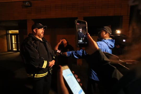 Patrick Miller with Rutherford County EMS talks to the media on November 6, 2018 about the storm swept through the county and killed at least one person, injured others and injured homes.