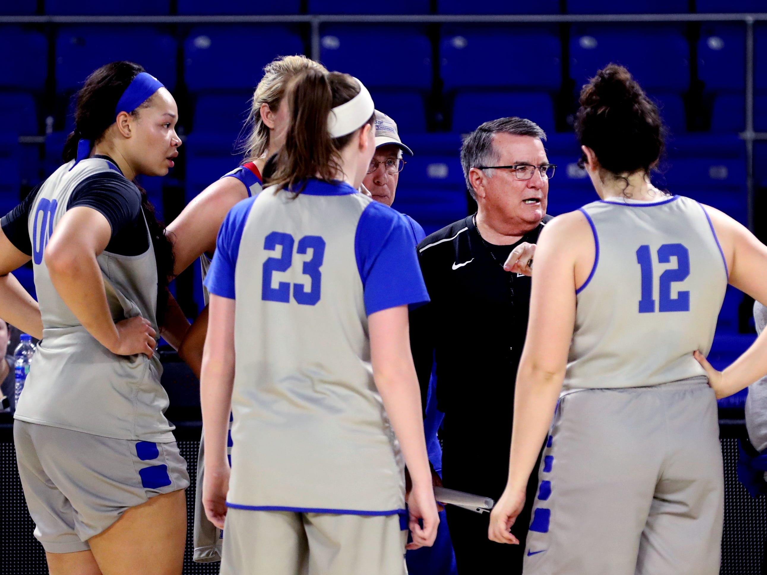 MTSU women's head basketball coach Rick Insell works with players during practice at Murphy Center on Monday, Nov.. 5, 2018.