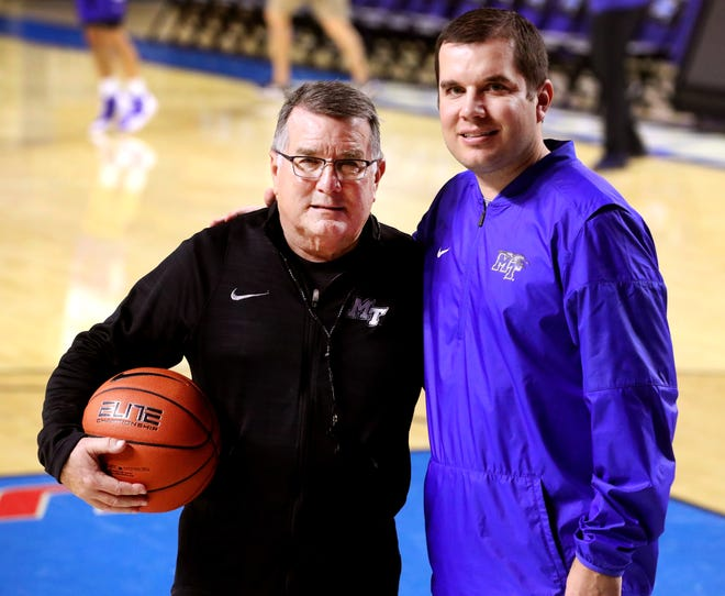 MTSU women's basketball coach Rick Insell, left, and assistant coach and son Matt Insell are coaching together for the first time since AAU ball in 2004.