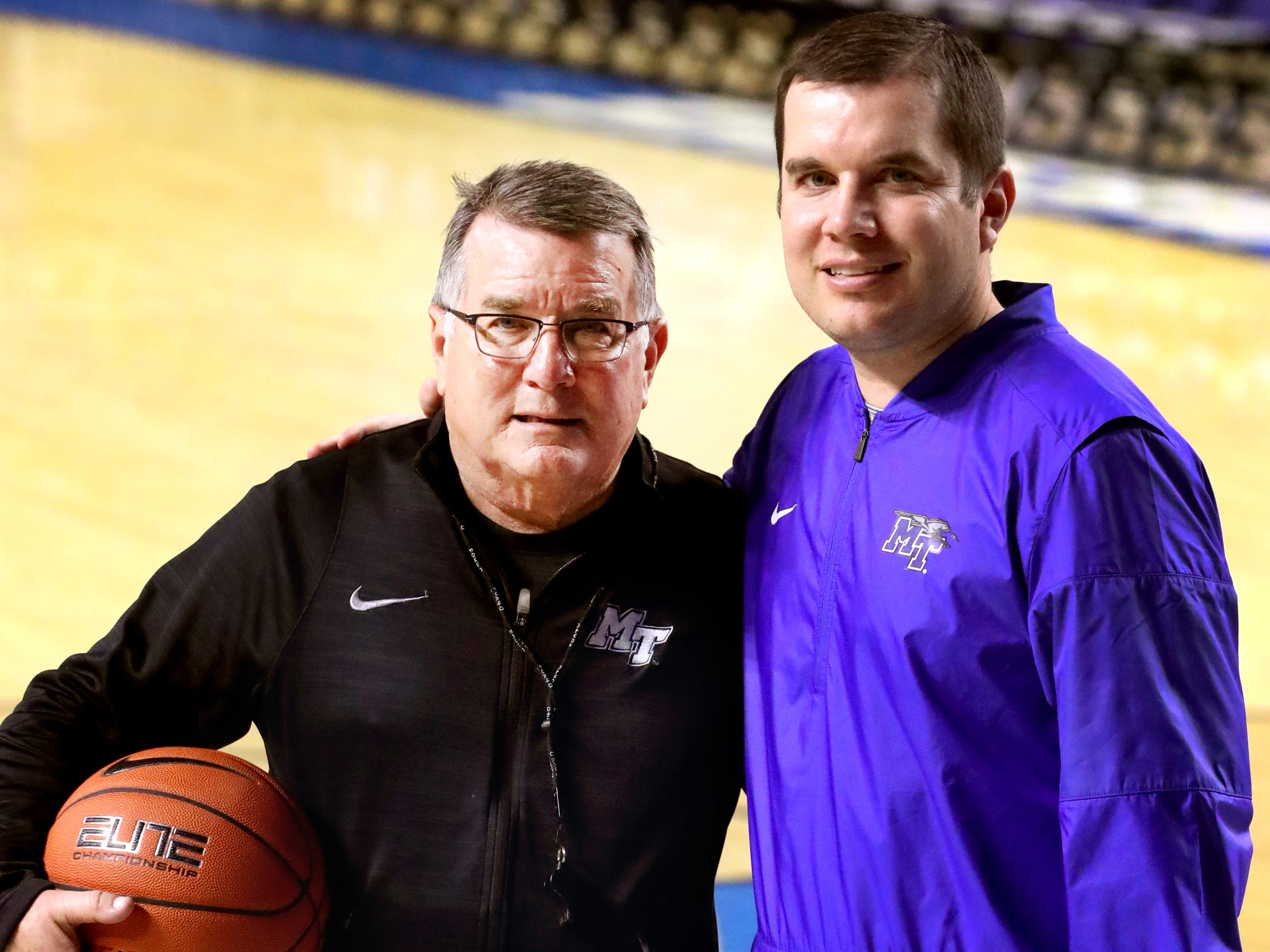 MTSU women's basketball head coach Rick Insell, left and assistant coach Matt Insell after practice at Murphy Center on Monday, Nov.. 5, 2018.