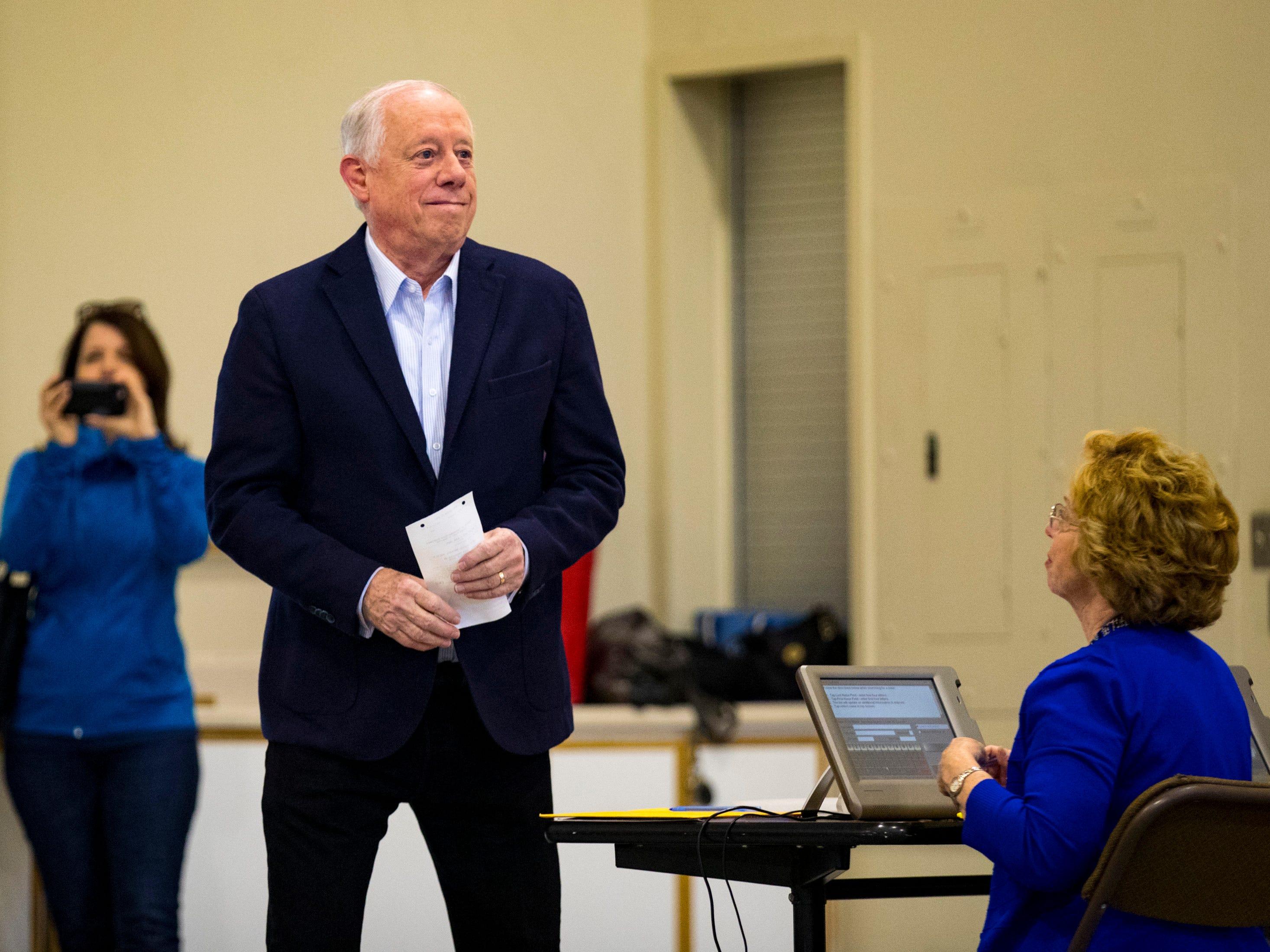 Governor Phil Bredesen prepares to cast his ballot at the Hillsboro Presbyterian Church in Nashville on Tuesday, Nov. 6, 2018.