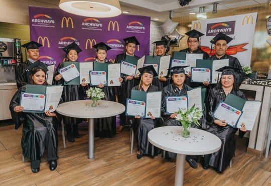 Eleven McDonald's employees graduated Nov. 5 in McDonald's English Under the Arches program in Gallatin.