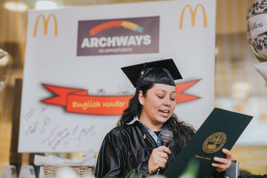 Julietta Murillo spoke at the English Under the Archways graduation ceremony Nov. 5 at McDonald's in Gallatin.