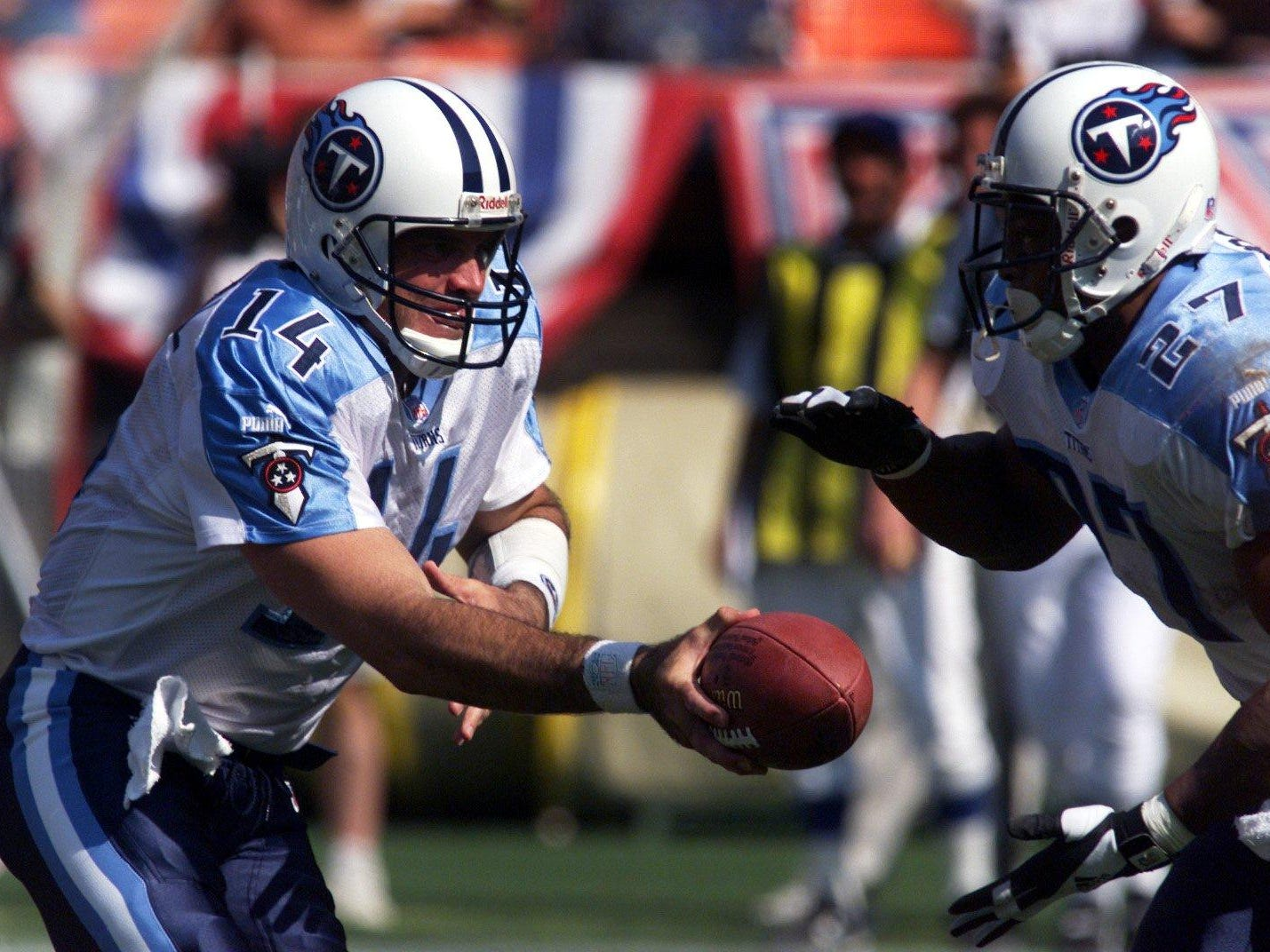 Neil O'Donnell -- 2 games started as a Titans quarterback since 1981 Here, O'Donnell hands off to Eddie George against the 49ers at Candlestick Park in San Francisco.