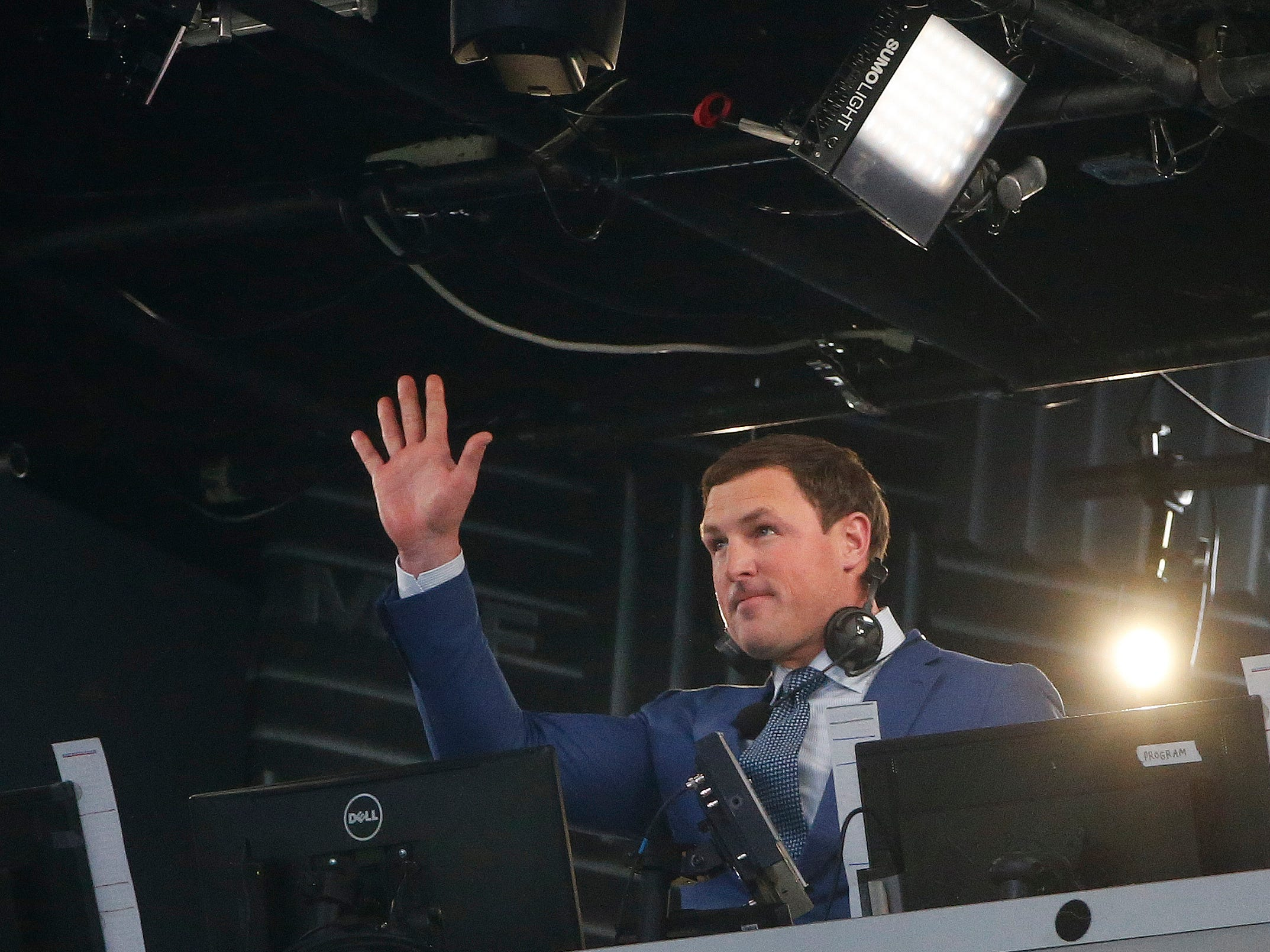 Former NFL player Jason Witten and broadcaster is recognized by the Dallas Cowboys before the first half of an NFL football game between the Dallas Cowboys and the Tennessee Titans, Monday, Nov. 5, 2018, in Arlington, Texas.