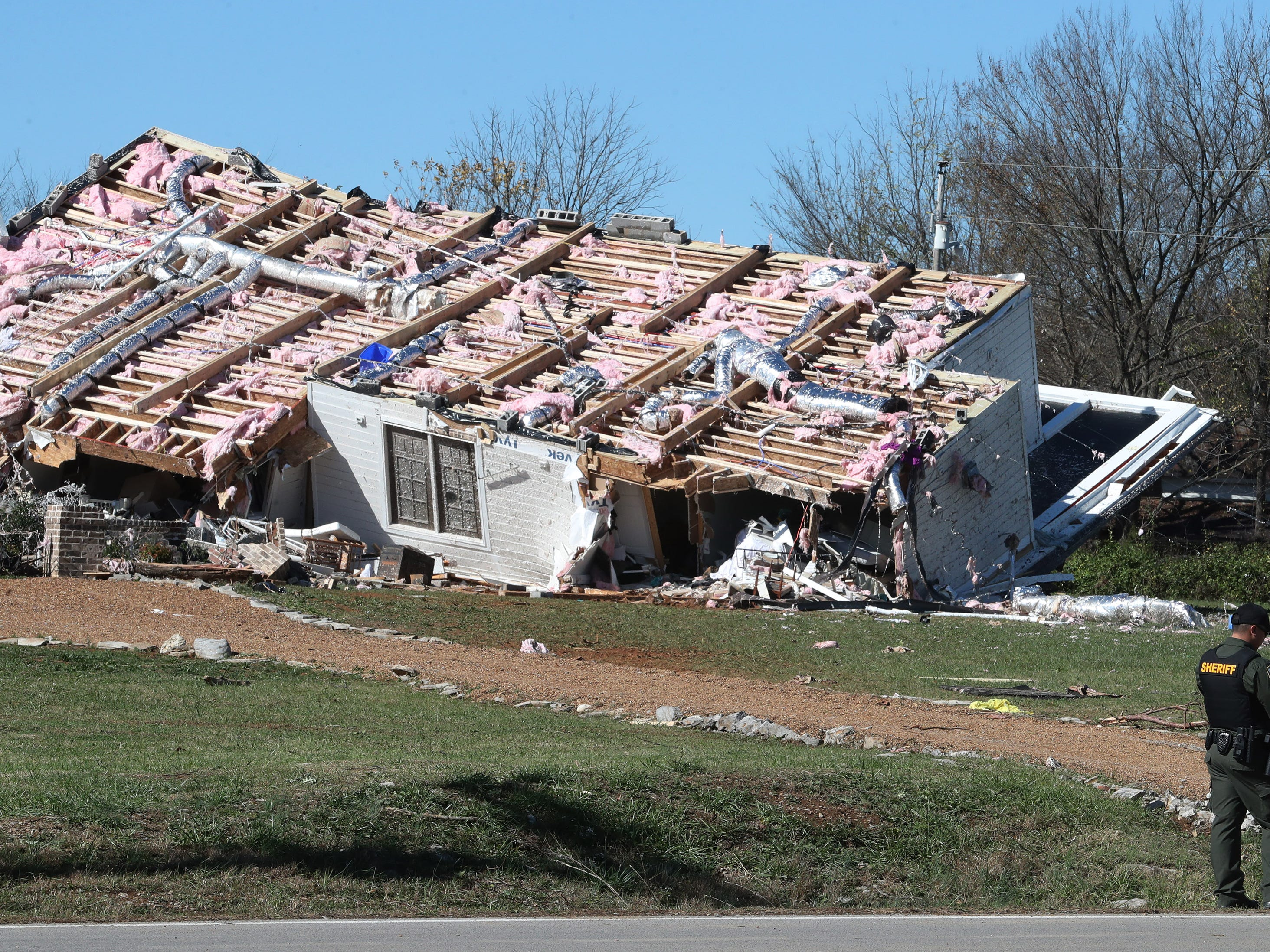 A home is covered in debris after a  tornado blew the family's house off its foundation on Midland Road  Tuesday, Nov. 6, 2018, in Christiana, Tenn.