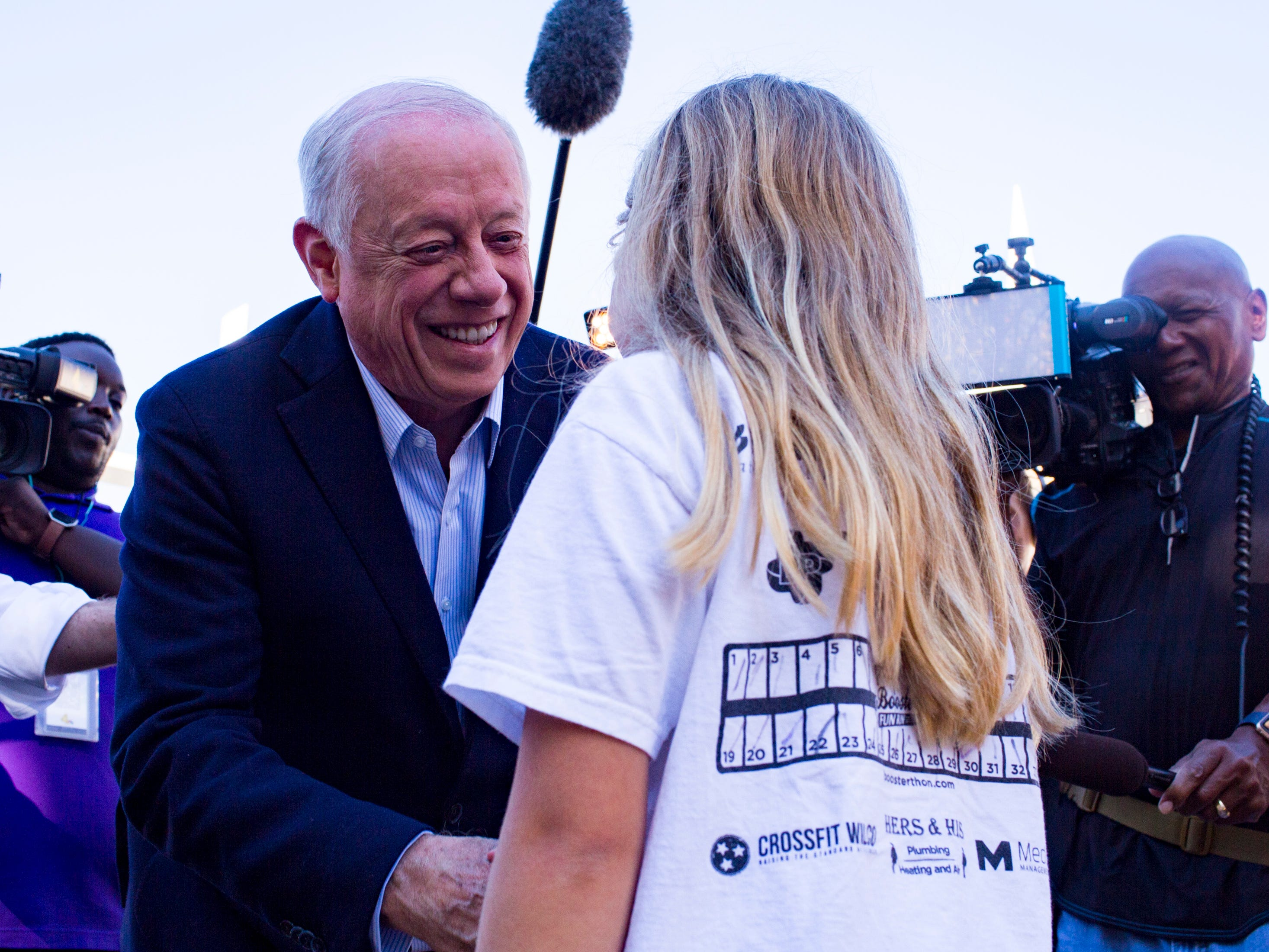 Governor Phil Bredesen speaks to a 9-year-old girl after casting his ballot at the Hillsboro Presbyterian Church in Nashville on Tuesday, Nov. 6, 2018.
