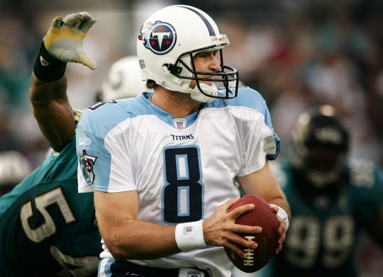 Matt Mauck -- 1 game started as a Titans quarterback since 1981. Here, Mauck (8) is hit by Jaguars' linebacker Mike Peterson (54) in the first quarter during their game at Alltel Stadium in Jacksonville, Fla., Jan. 1, 2006. Mauck finished with 65 yards on 7-of-14 passing.