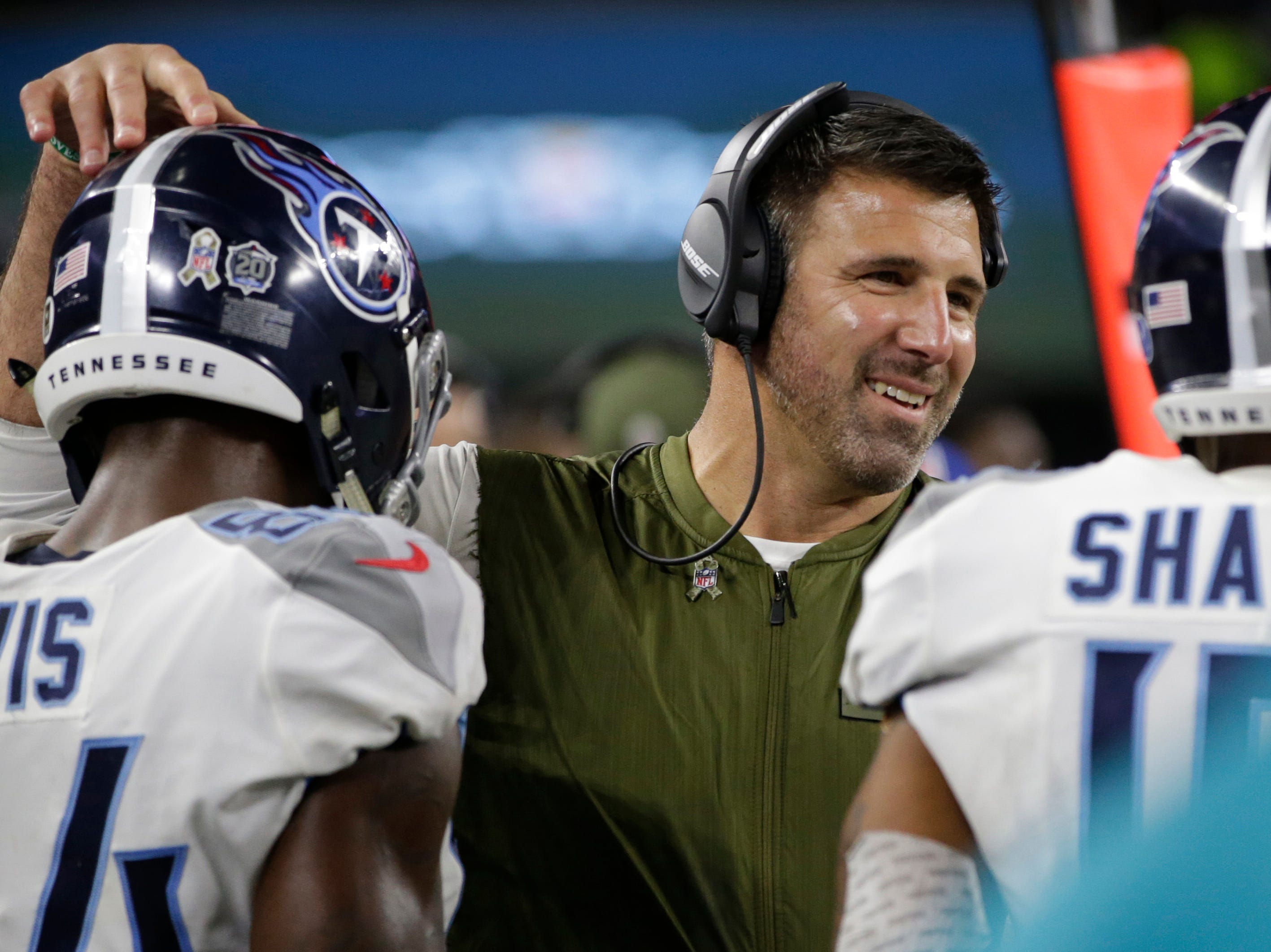Tennessee Titans head coach Mike Vrabel smiles during the game against the Dallas Cowboys at AT&T Stadium. Mandatory Credit: Tim Heitman-USA TODAY Sports