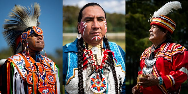 """Left: Native Pride Dancer Arlan Whitebreast, from the Meskwaki tribe in Iowa, waits outside the tent before demonstrating a grass dance during the 21st annual American Indian Arts Celebration on Friday, November 2, 2018, on the grounds of the Ah-Tah-Thi-Ki museum in the Big Cypress Seminole Indian Reservation.Center: Native Pride Dancer Larry Yazzie, from the Meskwaki tribe in Iowa, poses for a portrait. Yazzie was inspired to start dancing when he was seven after watching the dancers at the annual Meskwaki powwow, and now he travels all around the world to demonstrate his culture. """"If the kids are watching you they learn, they learn by observing,"""" he said. """"If you look around you see this beautiful culture around here, why throw all that away when we can preserve it for our children, the kids can watch and keep it going.""""Right: Seminole rainmaker Bobby Henry poses for a portrait. Henry says that when non-indigenous people come to Florida they often forget about the Seminole people, and he hopes that the school children that come and hear him talk about the culture will go home and share that with their families."""