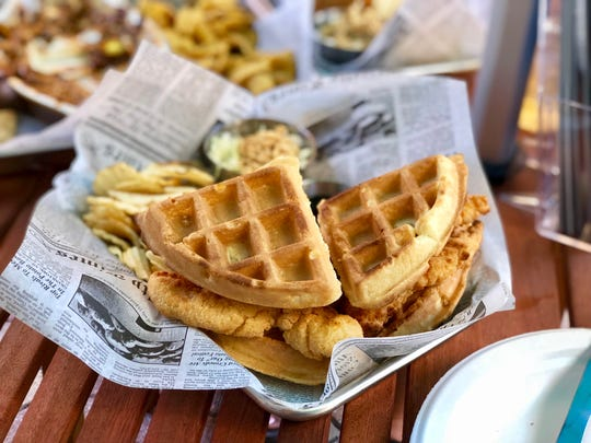 Southern-style chicken and waffles are on the menu at Southern Latitudes Brewpub in Naples.