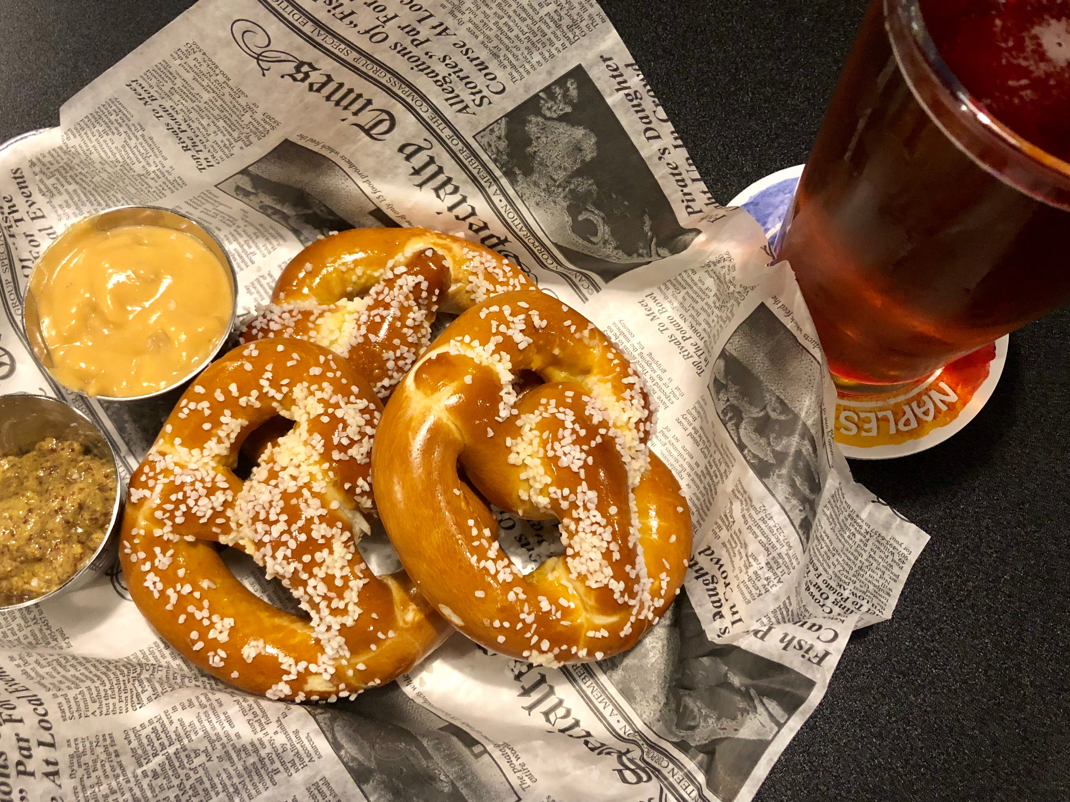 Bavarian-style pretzels with locally crafted beer cheese and stone-ground mustard at Southern Latitudes Brewpub in Naples.