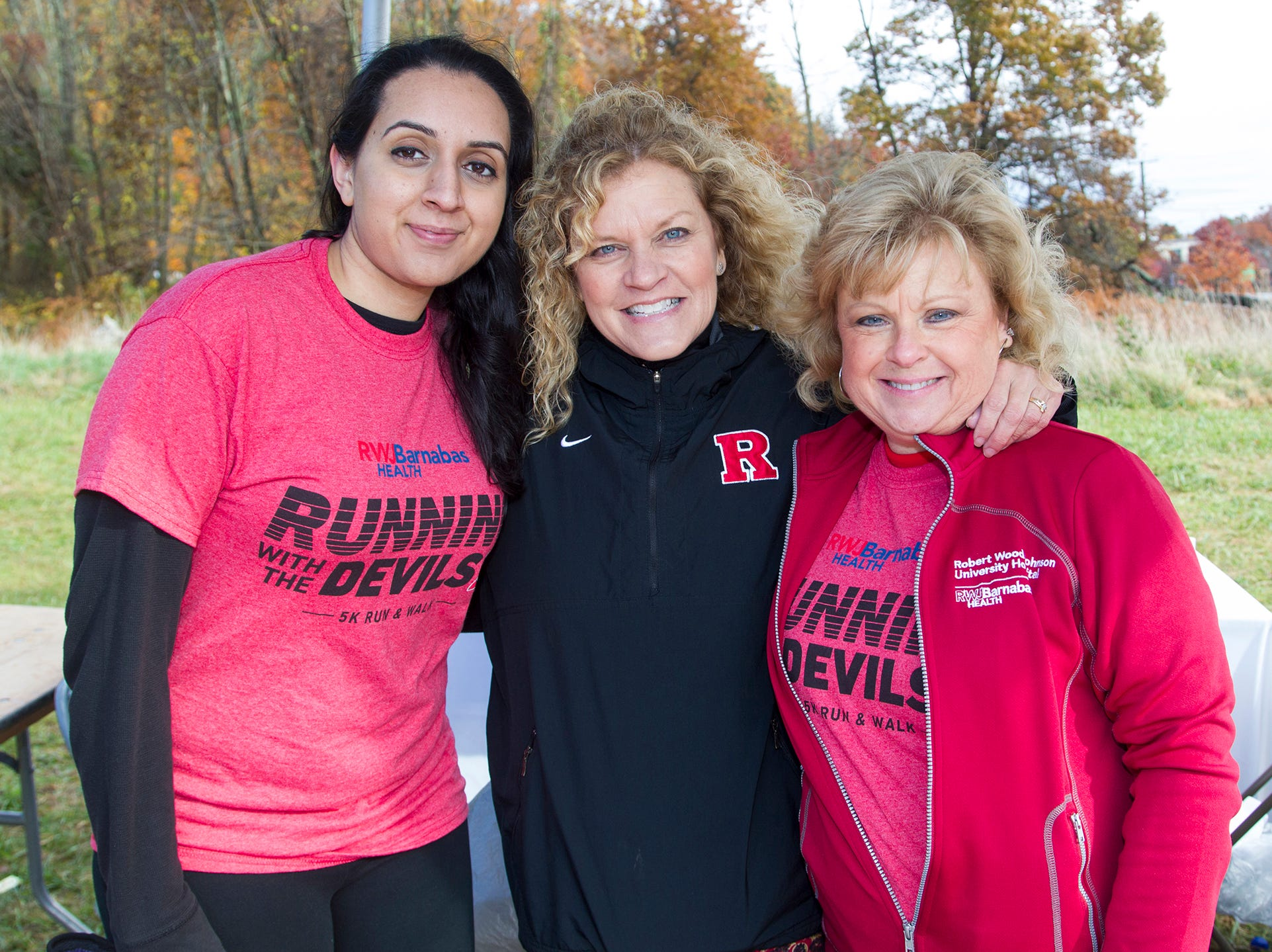 Mainu, Tammy, Connie. RWJBarnabas Health Running with the Devils 5K Run and Family Fun Walk at South Mountain Recreation in West Orange. 10/03/2018