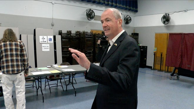 NJ Governor Phil Murphy arrives to vote at the Fairview Elementary School in Middletown Tuesday, November 6, 2018.