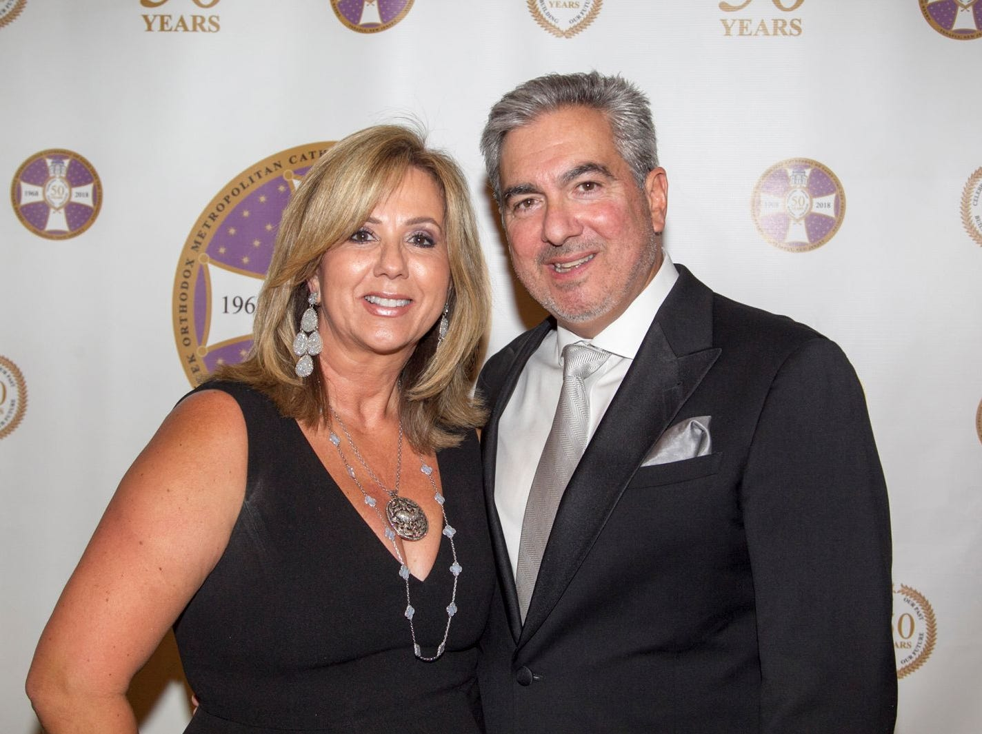 Sandy and Chris Tsamutlis. Saint John the Theologian 50th Anniversary gala Dinner at The Venetian in Garfield. 10/04/2018