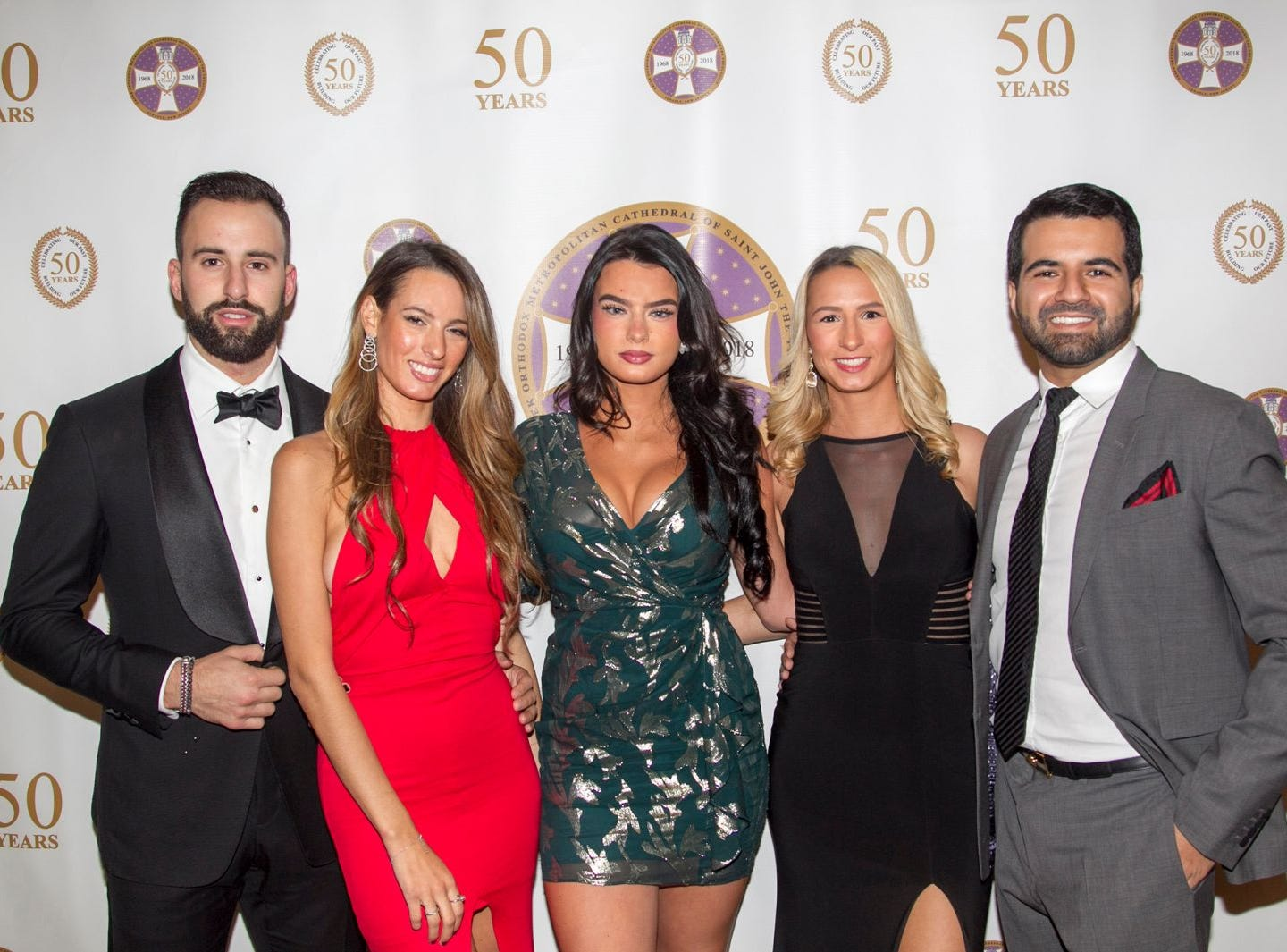 Justin Selman, Eleni Meneve, Xanthi Meneve, Arsta Meneve, Jahan Khubani. Saint John the Theologian 50th Anniversary gala Dinner at The Venetian in Garfield. 10/04/2018
