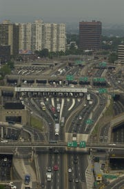 Tollbooths, Fort Lee as seen from the top of the George Washington Bridge.