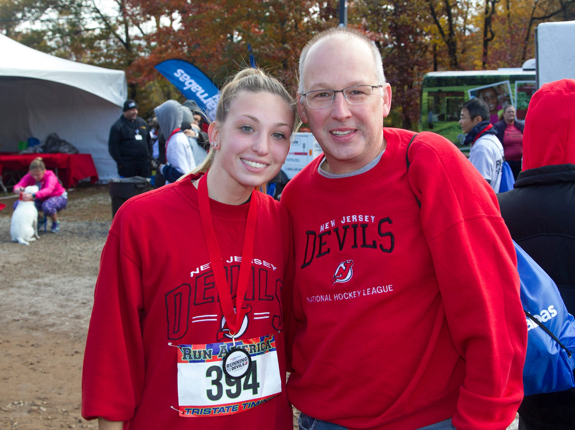 Samantha and Bill. RWJBarnabas Health Running with the Devils 5K Run and Family Fun Walk at South Mountain Recreation in West Orange. 10/03/2018