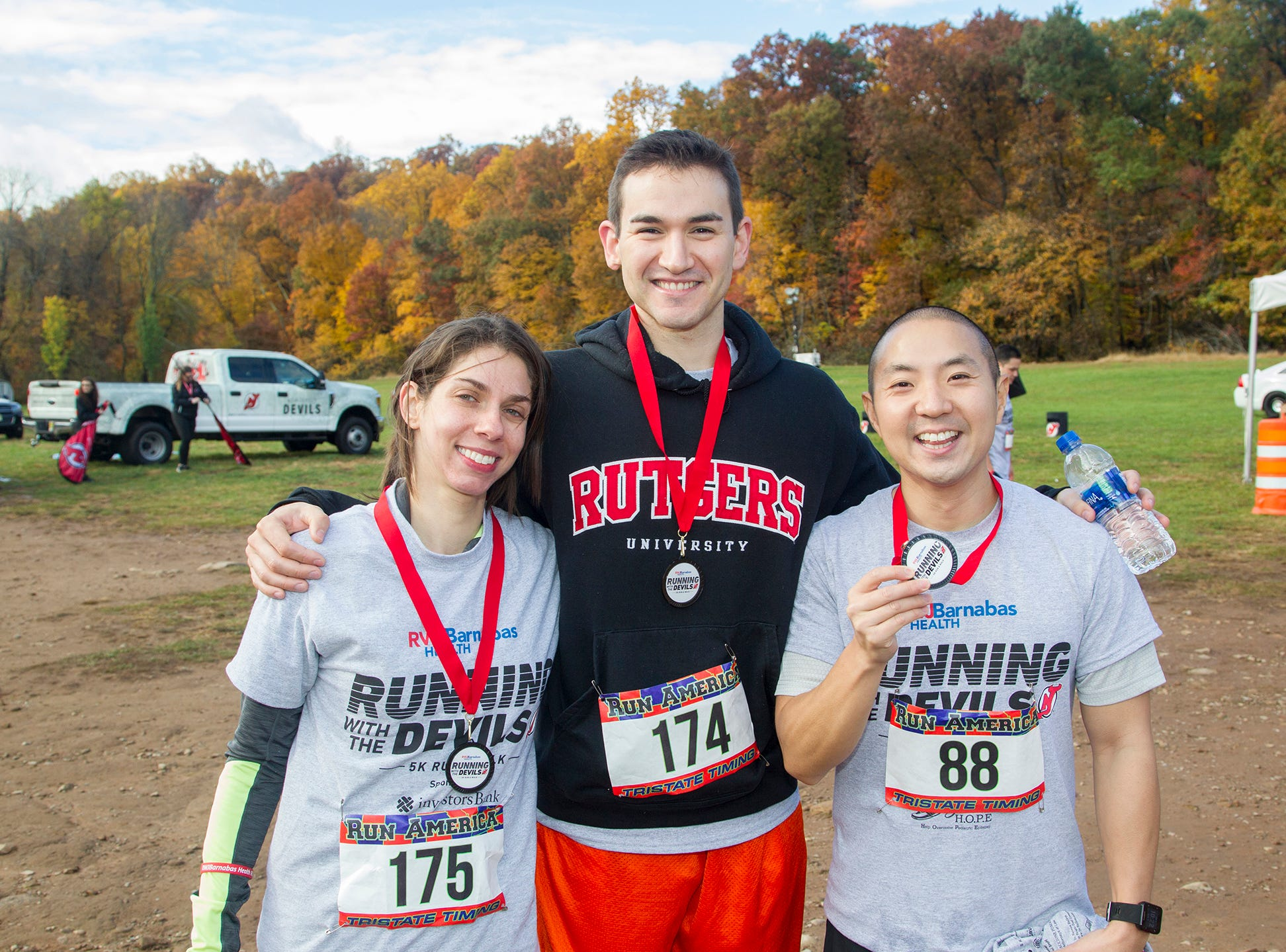 Stephanie, Dr. Dan Fremed, Dr. Andrew Cha, RWJBarnabas Health Running with the Devils 5K Run and Family Fun Walk at South Mountain Recreation in West Orange. 10/03/2018