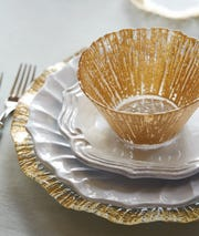 Vetri gold-rimmed charger plate