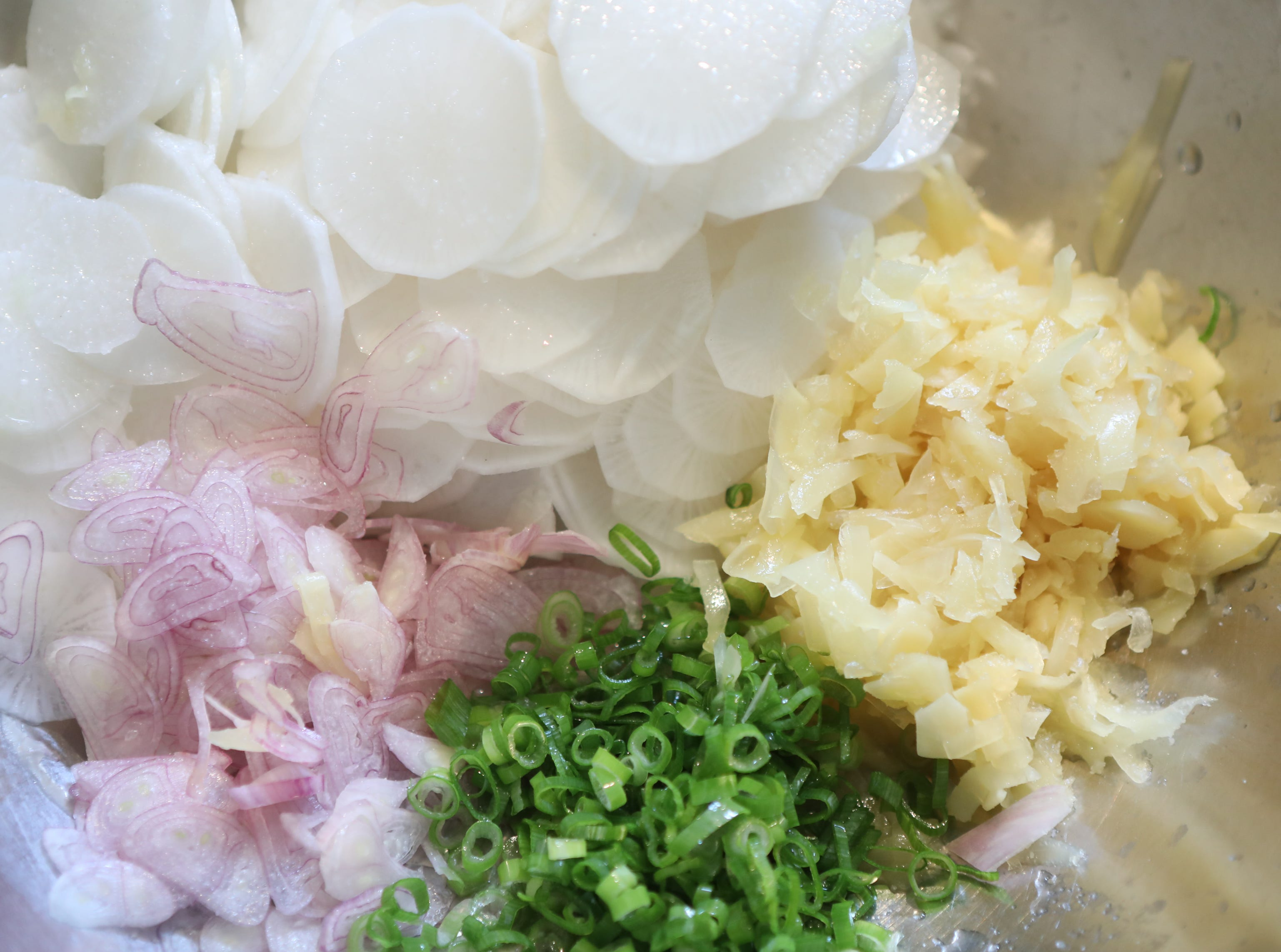 Cut, daikon radish, pickled ginger, scallion and shallots are ready to be added to the side of an Asian fusion entree .
