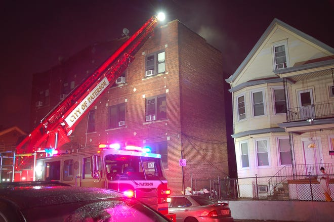 Firefighters fought a blaze at a East 22nd Street apartment building on Tuesday morning.
