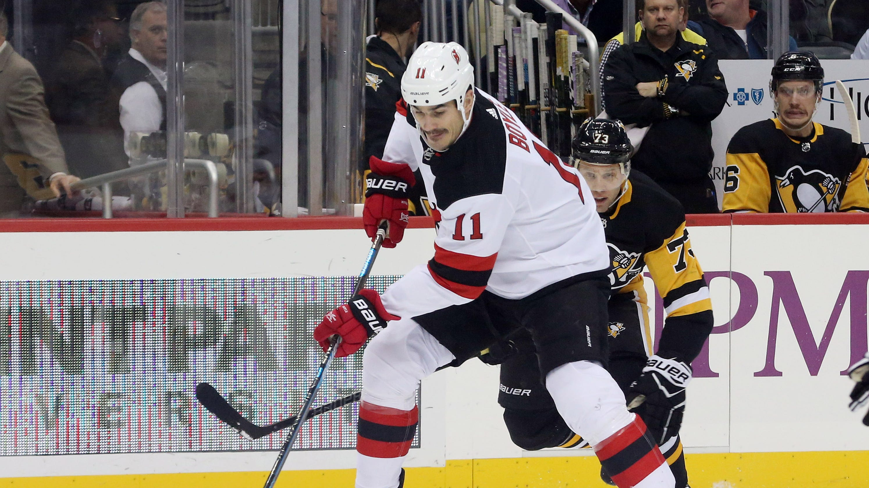 the latest d0356 67fa9 Brian Boyle hat trick, NJ Devils win on Hockey Fights Cancer ...