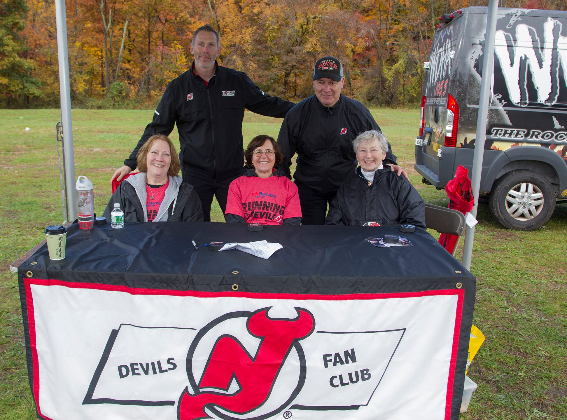 Debbie, Dee, Trudy, Grant Marshall, Bruce Driver. RWJBarnabas Health Running with the Devils 5K Run and Family Fun Walk at South Mountain Recreation in West Orange. 10/03/2018