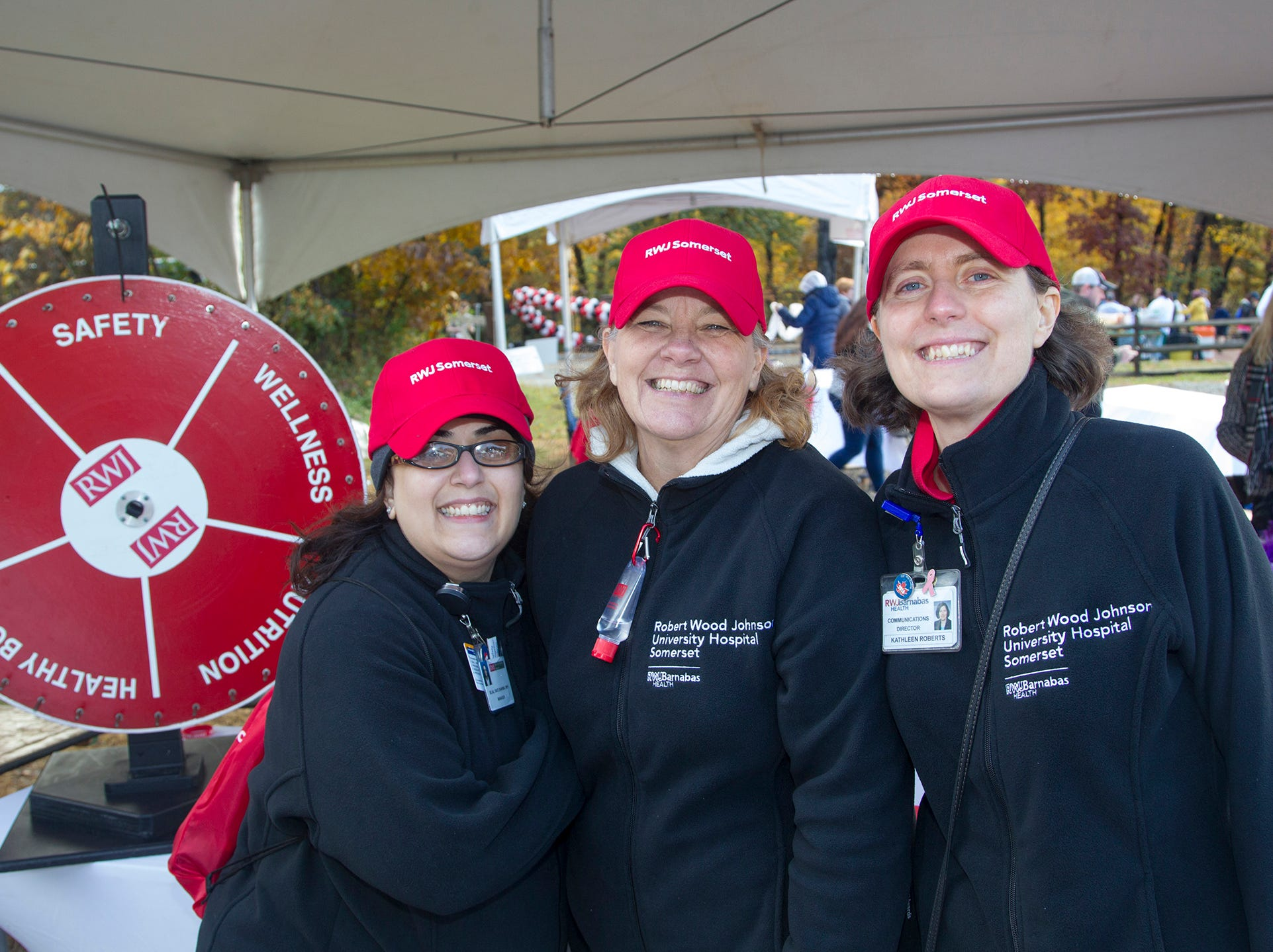 Sejal, Shari, Kathleen. RWJBarnabas Health Running with the Devils 5K Run and Family Fun Walk at South Mountain Recreation in West Orange. 10/03/2018