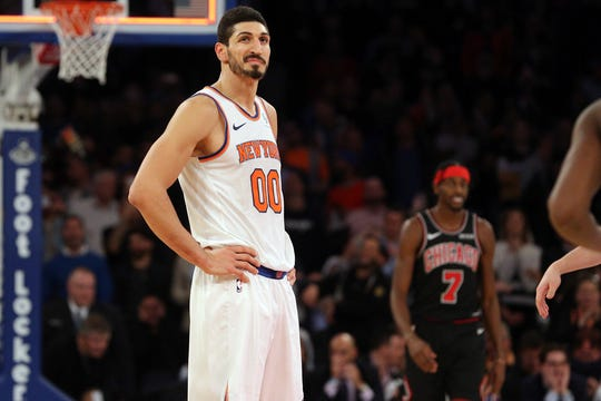 New York Knicks center Enes Kanter (00) reacts after the first overtime against the Chicago Bulls at Madison Square Garden.