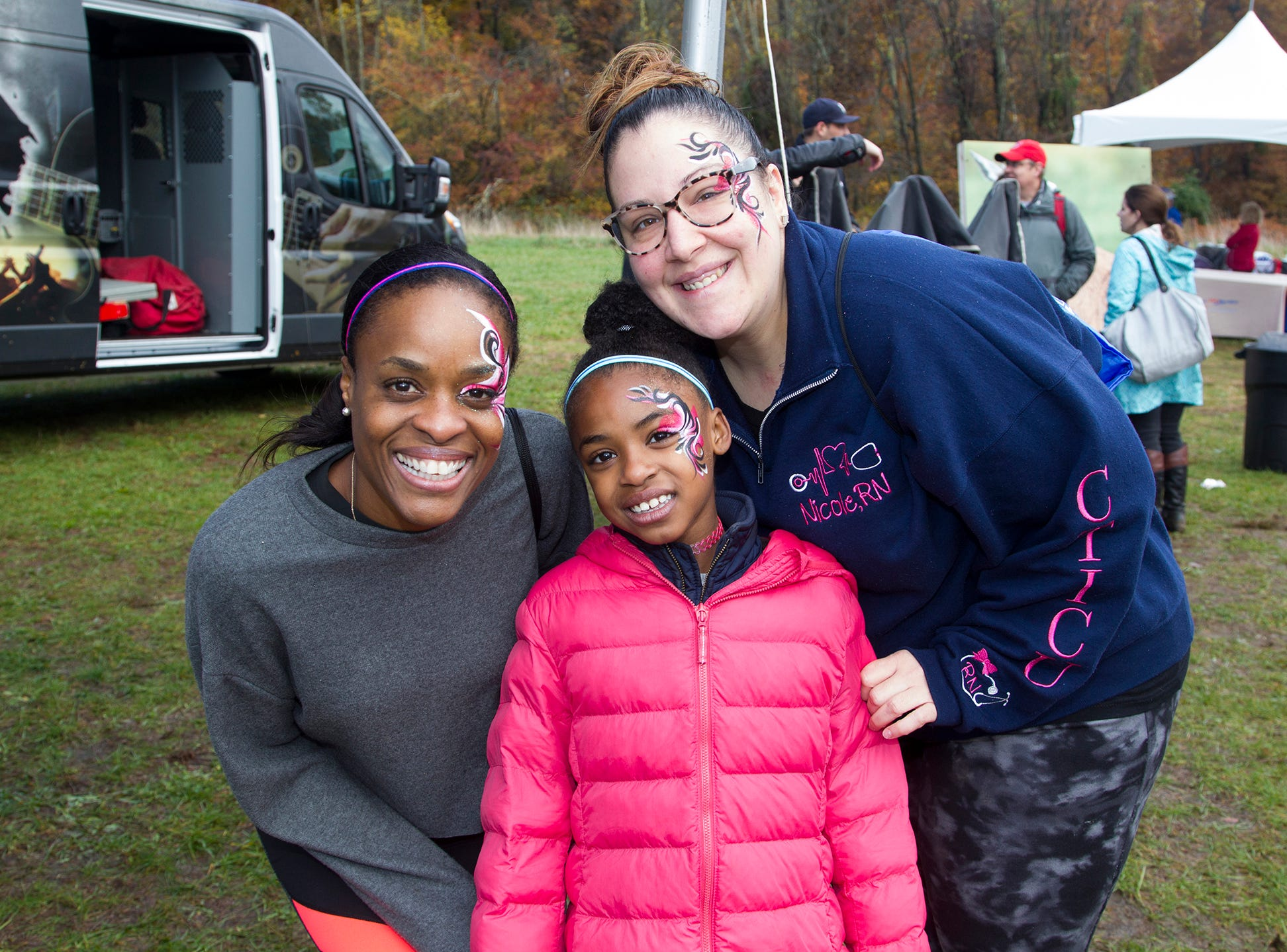 Natasha, Nicole, Erin. RWJBarnabas Health Running with the Devils 5K Run and Family Fun Walk at South Mountain Recreation in West Orange. 10/03/2018