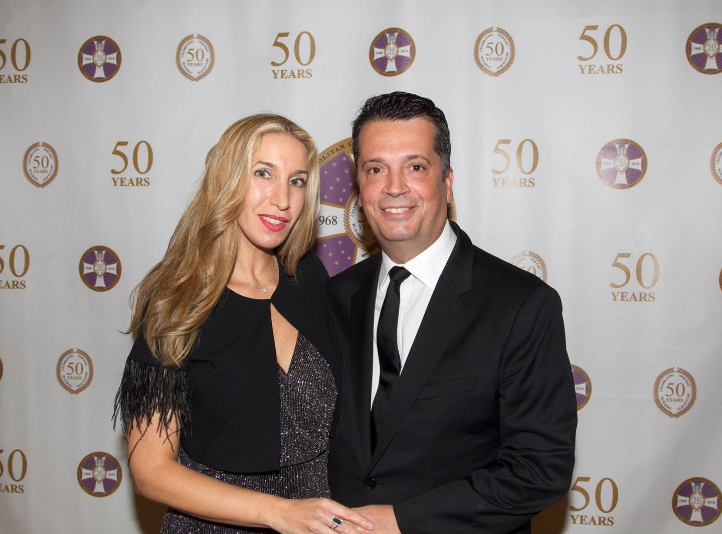 Stephanie and Elias Karlis. Saint John the Theologian 50th Anniversary gala Dinner at The Venetian in Garfield. 10/04/2018