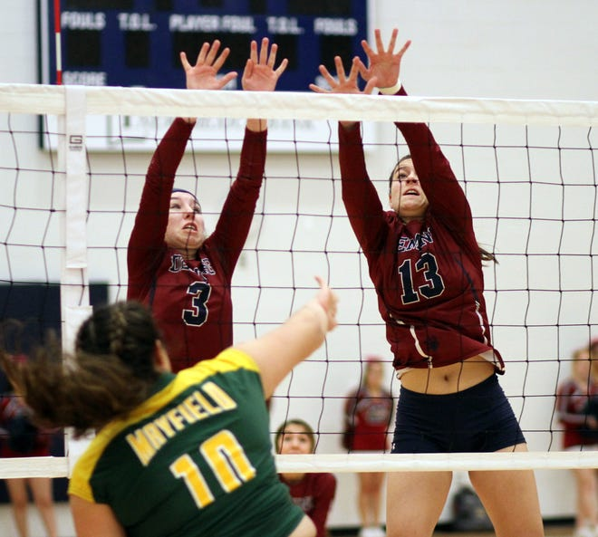 Sophomores Kamryn Zachek, left, and Kaitlyn Morgan team for a block during a District 3-5A match against Mayfield.