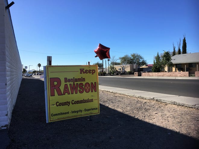 An election campaign sign endorsing county commissioner Benjamin Rawson stands on Idaho Avenue, at a corner where Rawson says he was assaulted early on Election Day, Tuesday, Nov. 6, 2018.