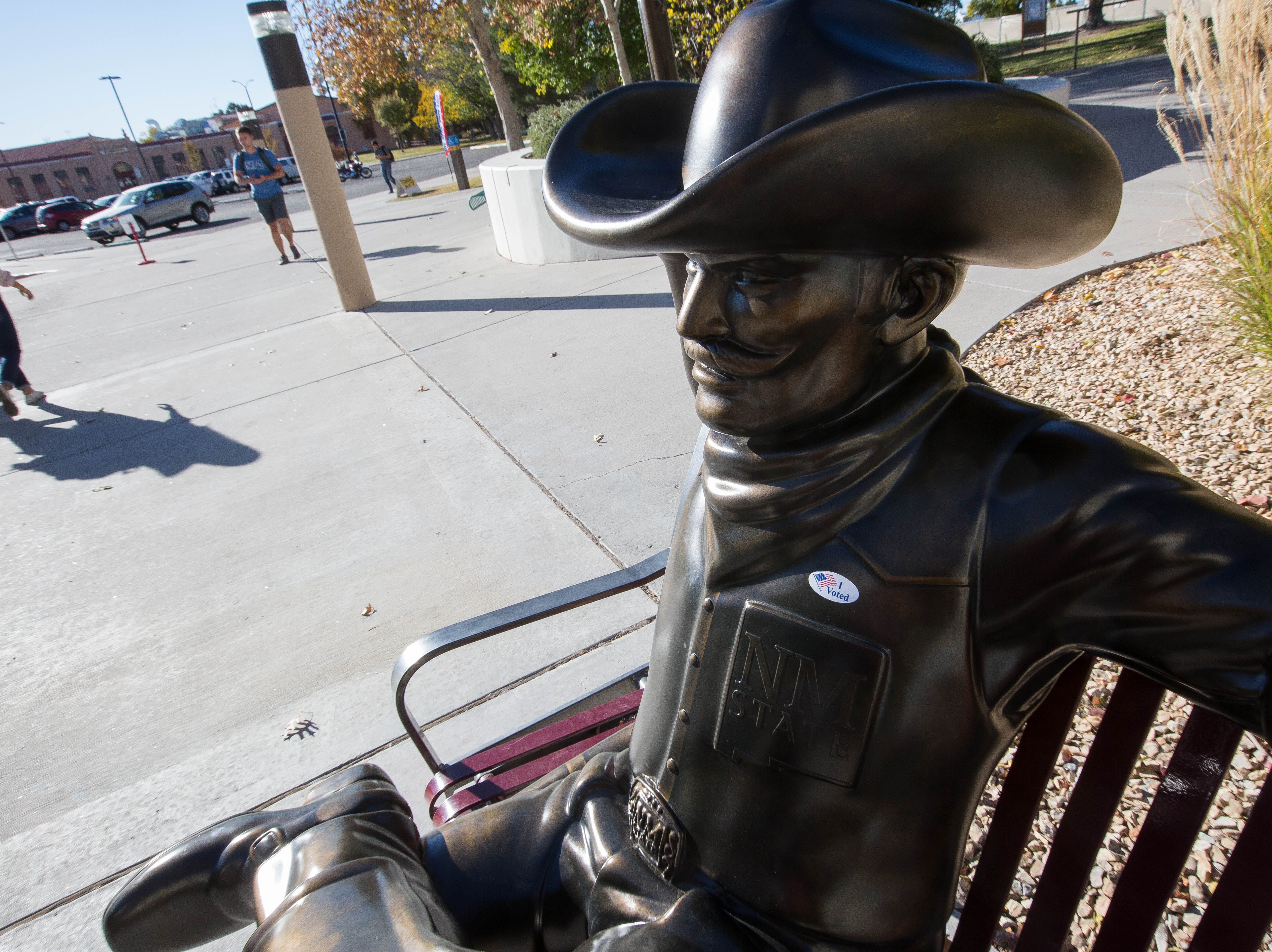 "The Pistol Pete statue outside of Corbett Center at New Mexico State University had an ""I Voted"" sticker placed on it by someone, Tuesday November 6, 2018."