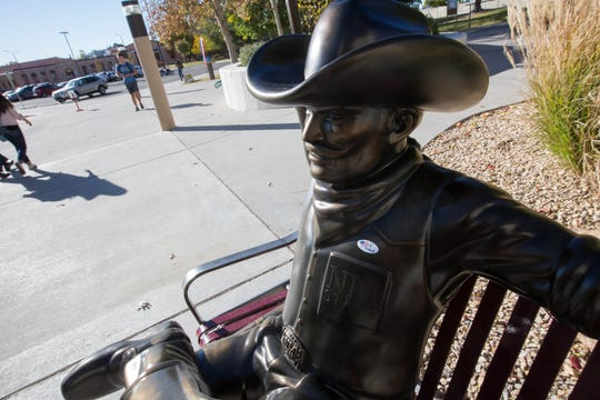 "The Pistol Pete statue outside of New Mexico State University's Corbett Center was installed during the summer of 2018. Seen here, with an ""I voted"" sticker, on election day, Nov. 6, 2018."