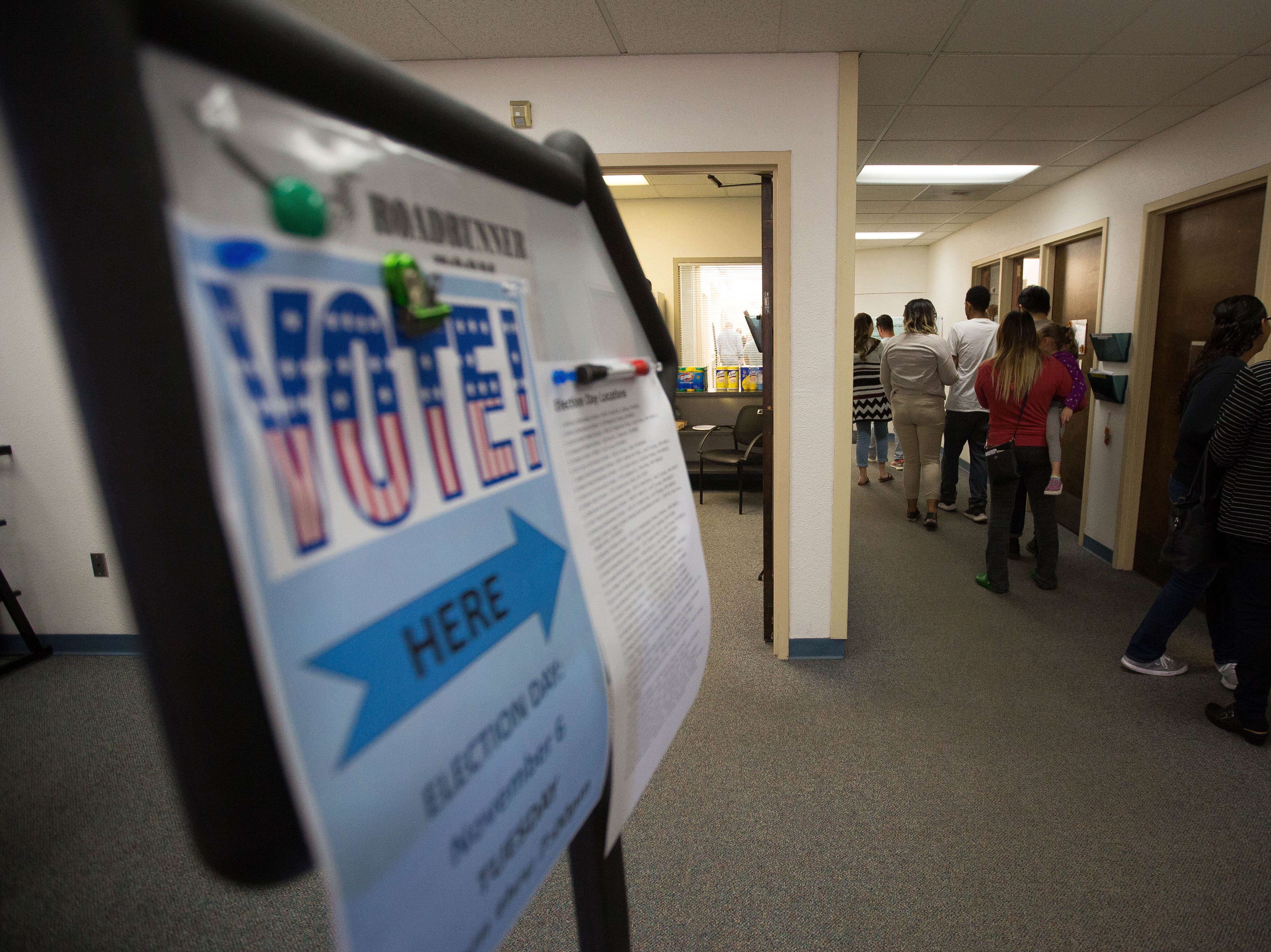 Voters line up on the second floor of Thomas Branigan Library, Tuesday November 6, 2018 to cast a ballot in the midterm elections.