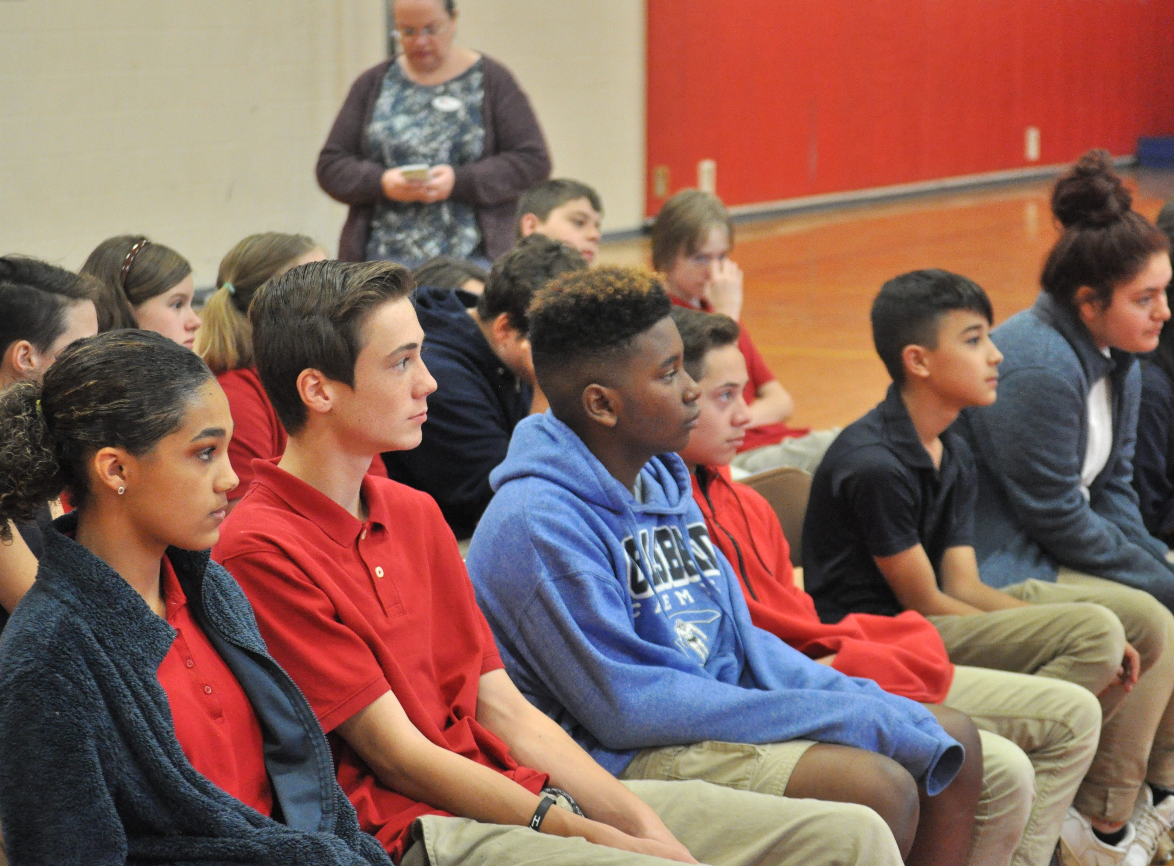 Students listen to a lecture on voting, Nov. 6, 2018 at Jefferson Montessori Academy.